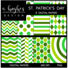 St. Patrick's Day {12x12 Digital Papers for Commercial Use}