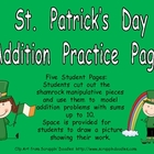 St. Patrick's Day Addition Practice- Sums to 10- Kindergarten