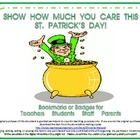 St. Patrick&#039;s Day Bookmarks &amp; Badges for Teachers, Student