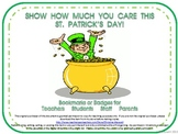 St. Patrick's Day Bookmarks & Badges for Teachers, Student
