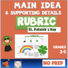 St. Patrick's Day FREEBIE Rubric for Main Idea + Supportin