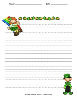 St. Patrick's Day Fillable Writing Paper