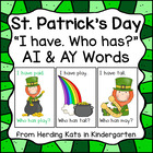 St. Patrick&#039;s Day I have... Who has...? ai or ay Word Game