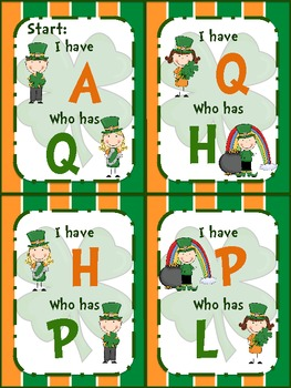 "St. Patrick's Day ""I have...Who has?"" Number + Alphabet Game"
