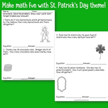St. Patrick's Day Math Problems