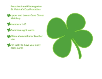 St. Patrick's Day Preschool Printables