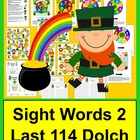 St. Patrick's Day Sight Words Game Boards-Last 114 Dolch +
