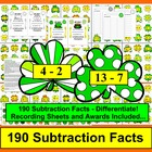 St. Patrick's Day Subtraction Fact Math Center Activities