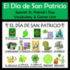 St. Patrick's Day Vocabulary Activities & Games Unit in Spanish