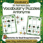 St. Patrick's Day Word Puzzles- Antonyms