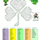 St. Patrick's Day three-leaf clover Word-Search Puzzle for