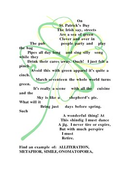 St Patricks day Concrete Poem with Poetic Devices
