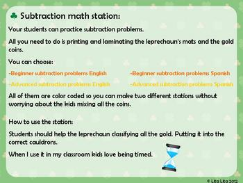 St Patrick's subtraction station English & Spanish