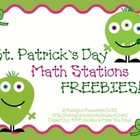 St. Patty's Day Math Station FREEBIES!
