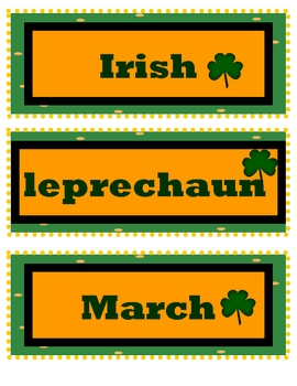 St. Patty's Day Word Wall ABC Order!