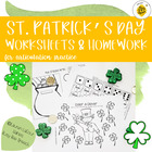 St. Patty's Day Worksheets/HW Packet for Speech Therapy
