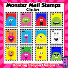 Stamps:  Monster Mail Stamp Clip Art Set