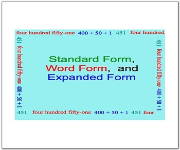 Standard, Expanded, and Word Form Math Smartboard Lessons