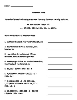 Standard Form Worksheet