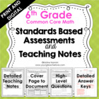 Standards Based Assessments: 6th Grade Math *ALL STANDARDS