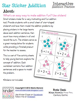 Star Sticker Addition - Interactive Addition Practice