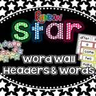 Star Word Wall Headers & 220 Word Wall Words {Editable}