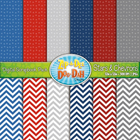 Stars & Chevrons Digital Scrapbook Pack — July 4th / Patri
