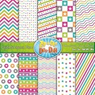 Stars & Stripes Digital Scrapbook Pack — Retro Rainbow (10 Pages)
