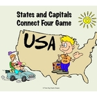 States + Capitals Connect Four Printable Color Geography Game