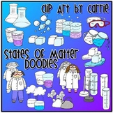 States of Matter Doodles clip art COMBO pack (BW and colored PNG)