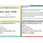 States of Matter &amp; Mixtures Quiz, Quiz, Trade Game/Center