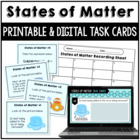 States of Matter Science Task Cards 3rd 4th 5th