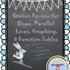Stations Review for Slope, Parallel Lines, Function Tables
