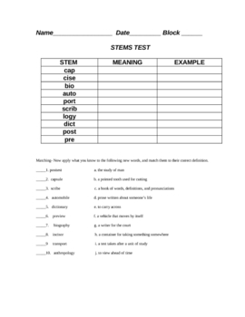 Stems Test Cap-for Latin and Greek Roots Basic List Number 5