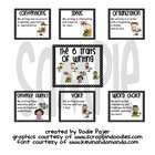 Stick Figures 6 Traits Posters -  Black with White Polka Dots