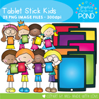Stick Kids With Tablets - Clipart for Teaching