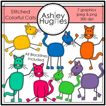 Stitched Colorful Cats{Graphics for Commercial Use}