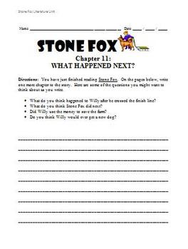 Stone Fox Literature Unit - What Happened Next?  Activity