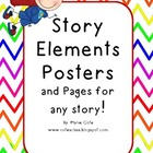 Story Elements Posters and Practice! Rainbow Chevron