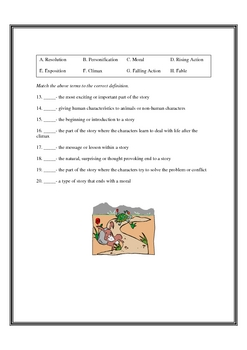 Story Plot Line and Fable Quiz