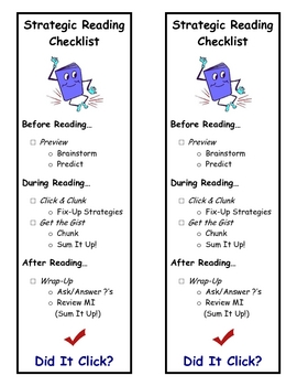 Strategic Reading Bookmarks