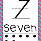Striped Pink and Aqua Alphabet and Number Line - D'Nealian
