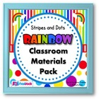 Stripes &amp; Dots Rainbow Themed Classroom Materials Pack