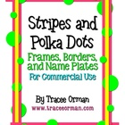 Stripes &amp; Polka Dots Labels Frames Borders Name Plates