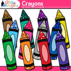 Stubby Glitter Crayons Back to School Supplies Clipart - 1