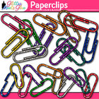 Stubby Glitter Paper Clips Back to School Supplies Clipart