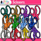 Stubby Glitter Scissors Back to School Supplies Clipart - 