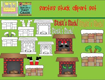 Stuck Santa Clipart Set