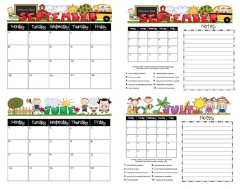 Student Behavior Calendars August 2012 - July 2013