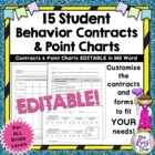 Student Behavior Contracts &amp; Point Charts  FULLY Editab